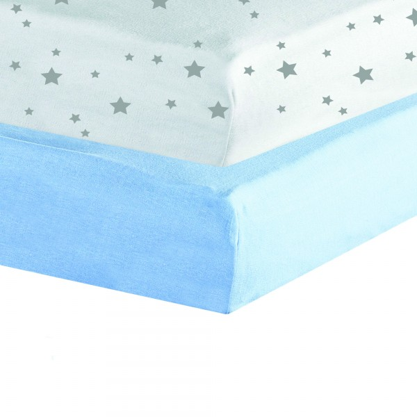 Drap Housse jersey 2 lot 40 x 80cm - Blanc / Bleu Lot de 2 draps housse... par LeGuide.com Publicité