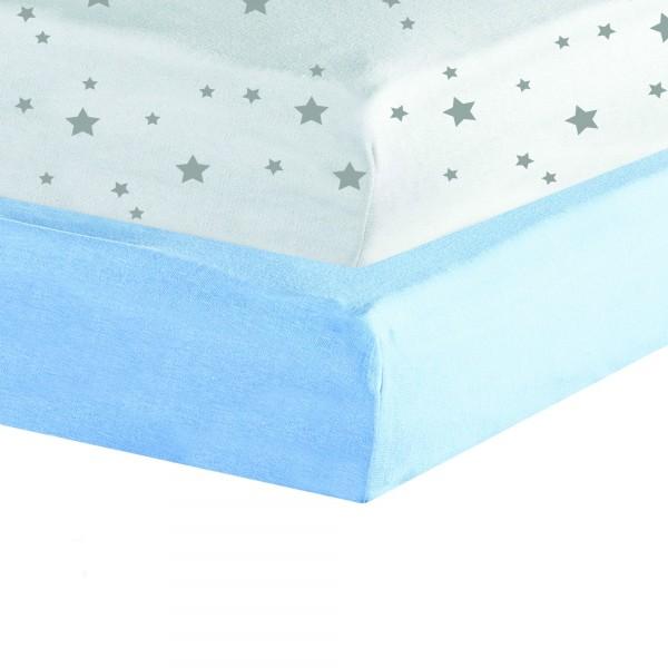 Drap Housse jersey 2 lot 60 x120 cm - Blanc / Bleu Lot de 2 draps housse... par LeGuide.com Publicité